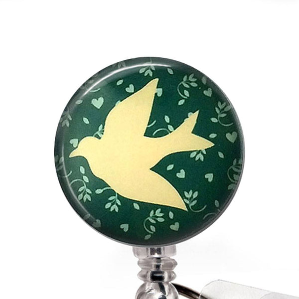 Dove on Soft Green Badge Reel, Bird ID Badge Holder 326 - Plum Beadacious  - 1