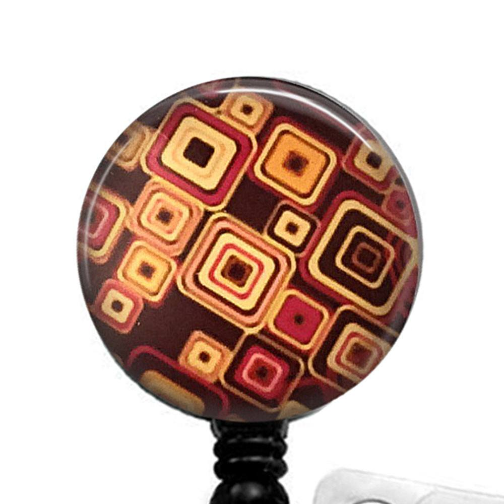 Brown Geometric Design Badge Reel, ID Badge Holder 325 - Plum Beadacious  - 1