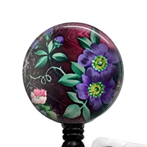 Purple Blossoms ID Badge Reel, Flower ID Badge Holder 327 - Plum Beadacious  - 1