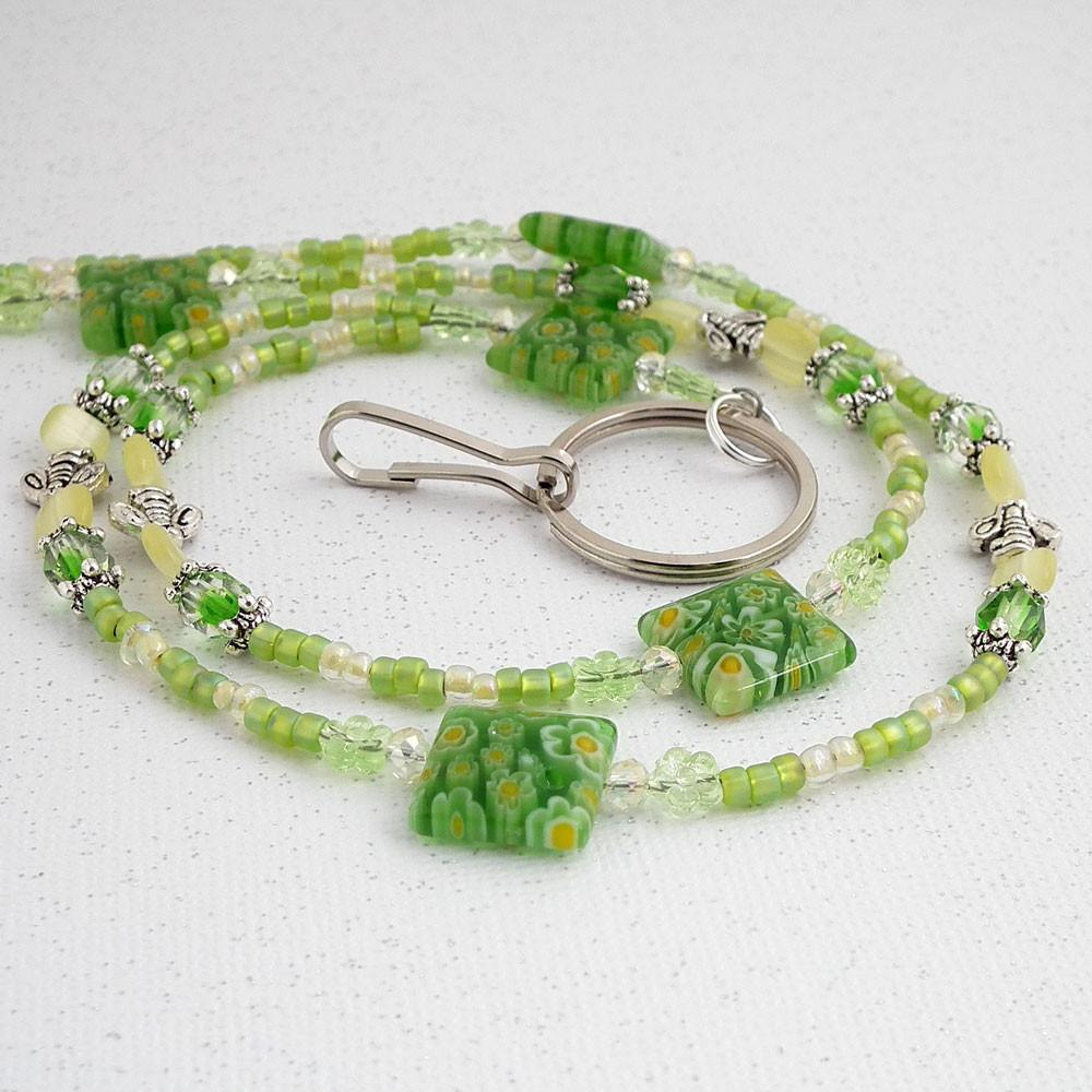 Green Beaded ID Lanyard - Green Millefiori Beads, Czech Glass Crystals, Silver Pewter Honey Bees - Limited Edition - Plum Beadacious