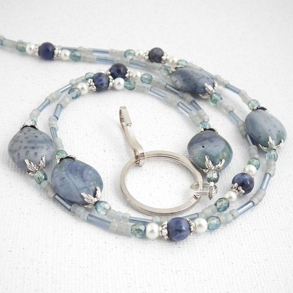 Soft Denim Blue Beaded ID Lanyard - Blue Beads,  Czech Glass Crystals, White Glass Pearls, and Decorative Silver Pewter Bead Caps - Plum Beadacious  - 2