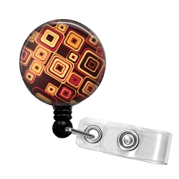 Brown Geometric Design Badge Reel, ID Badge Holder 325 - Plum Beadacious  - 2