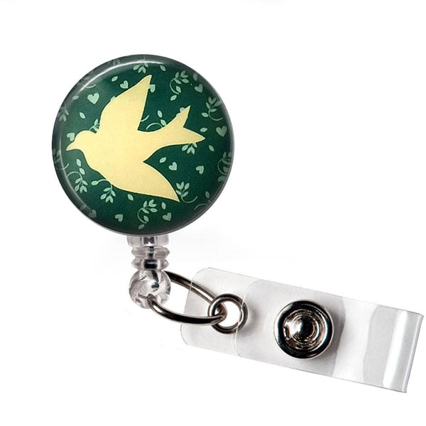 Dove on Soft Green Badge Reel, Bird ID Badge Holder 326 - Plum Beadacious  - 5