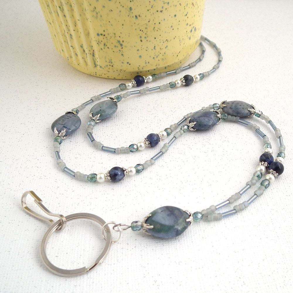Soft Denim Blue Beaded ID Lanyard - Blue Beads,  Czech Glass Crystals, White Glass Pearls, and Decorative Silver Pewter Bead Caps - Plum Beadacious  - 1