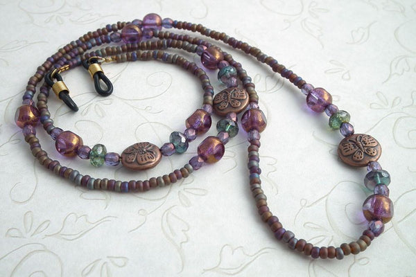 Beaded Eyeglass Chain, Copper Disc Bead with Butterfly, Glass Beads, Eyeglass Necklace, Reading Glasses Chain,Eyeglass Lanyard - Plum Beadacious