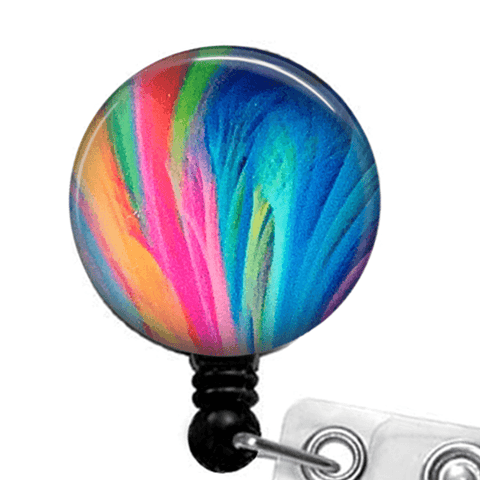 Rainbow Feathers ID Badge Reel