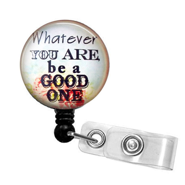 Glass Dome Badge Holder, Retractable ID Badge Reel, ID Holder, Inspirational Badge Reel 285 - Plum Beadacious