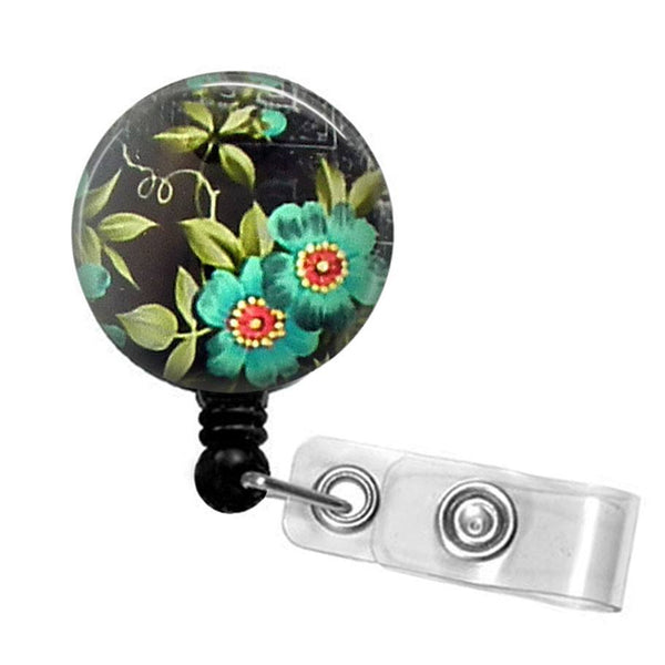 Retractable ID Badge Reel Blue Flower on Black - Flower Badge Reel  32 - Plum Beadacious  - 5
