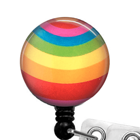 Rainbow Curved Stripe ID Badge Reel