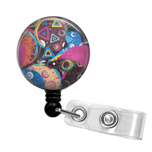 Colorful Abstract Design Badge Holder, ID Badge Reel 323 - Plum Beadacious  - 5