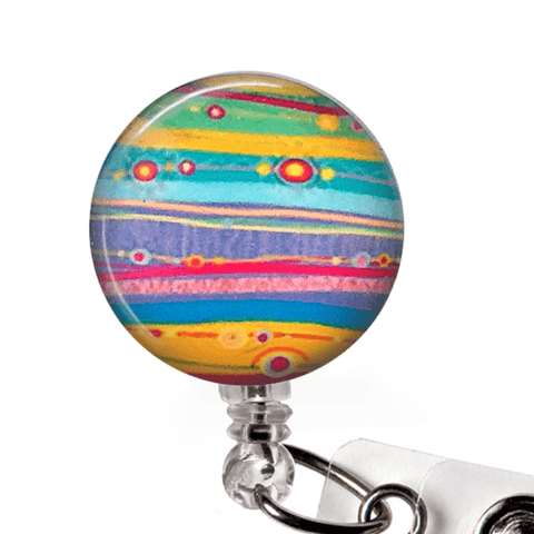 Colorful Artistic Stripe ID Badge Reel - Abstract Design Badge Holder 242
