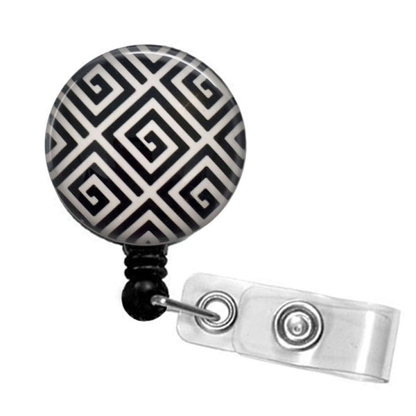 Black and White Geometric Design Badge Reel, ID Badge Holder 324 - Plum Beadacious  - 5