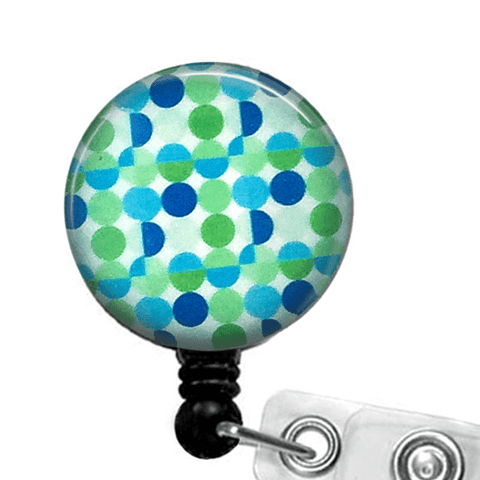 Blue Green Circles ID Badge Reel - Abstract Design Badge Holder 226