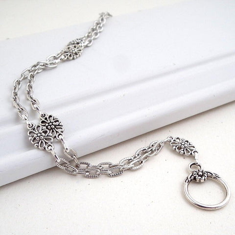 Antiqued Silver Chain Filigree ID Badge Lanyard