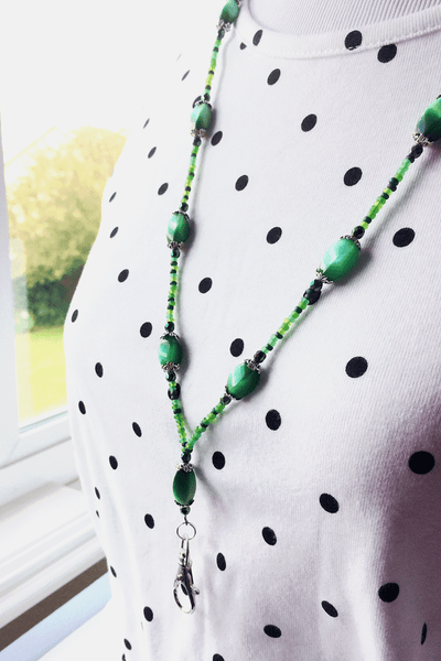 Green Beaded ID Badge Lanyard - Green Oblong Cat Eye Beads ID Necklace - Plum Beadacious -2