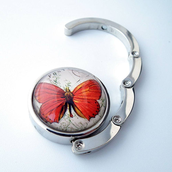 Orange Butterfly Photo Glass Cabochon, Purse Hanger - Plum Beadacious