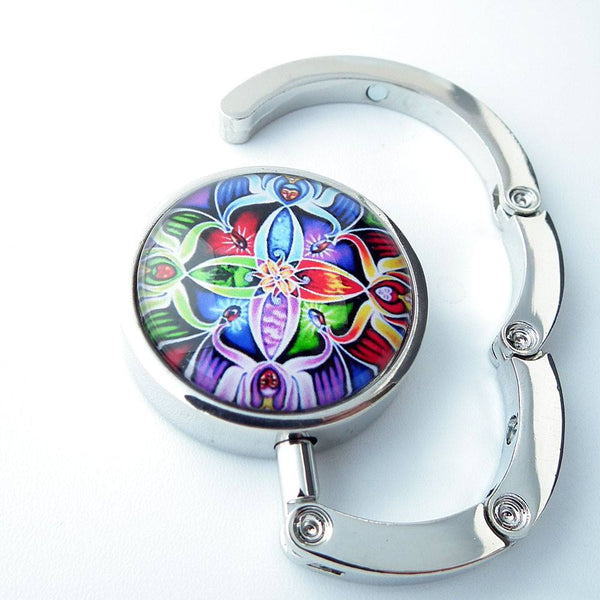 Colorful Flower Circle Photo Glass Cabochon, Purse Hanger - Plum Beadacious  - 2