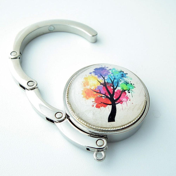 Multi Color Tree Photo Glass Cabochon, Purse Hanger - Plum Beadacious
