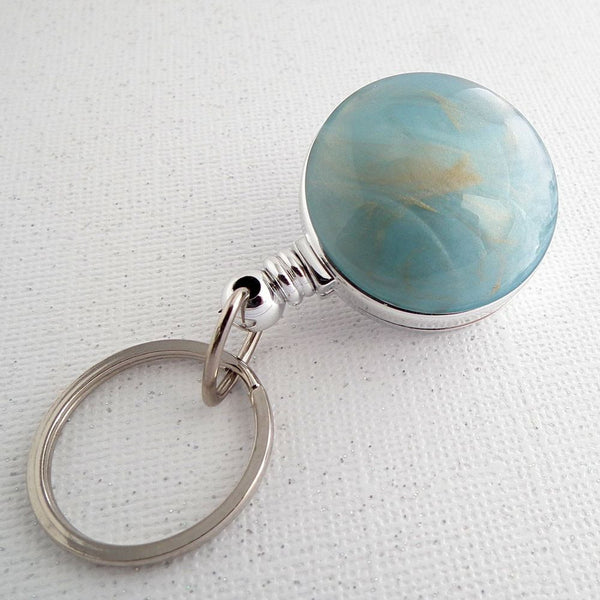 Blue Swirl Design Key Ring on Badge Reel, Key Chain