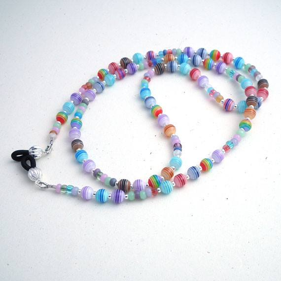 Multicolor Round Resin Beaded Eyeglass Leash, Eyeglass Chain, Reading Glasses Chain - Plum Beadacious