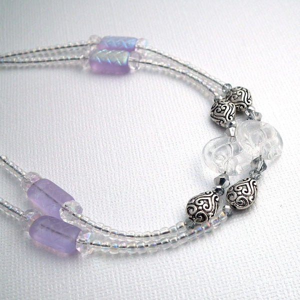 Crystal Clear Beaded Lanyard - Clear Round Disc Beads, Crystals, Silver Decorative Beads - Plum Beadacious