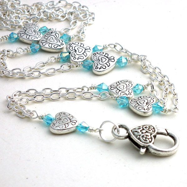 Simple Silver Heart Chain ID Badge Lanyard, Blue Crystals Heart Clasp - Plum Beadacious