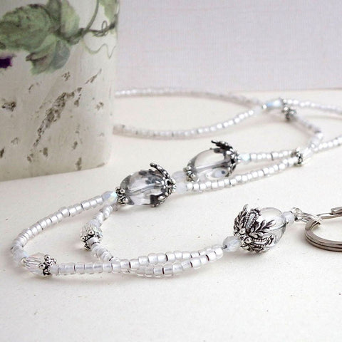 Beaded Lanyard - Clear Glass Beads and Crystals. Decorative Silver Pewter Bead Caps - Plum Beadacious