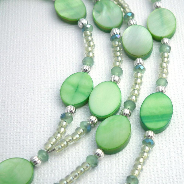 Green Mother of Pearl Beaded Lanyard - Green Crystals, Silver Plated Beads - Plum Beadacious