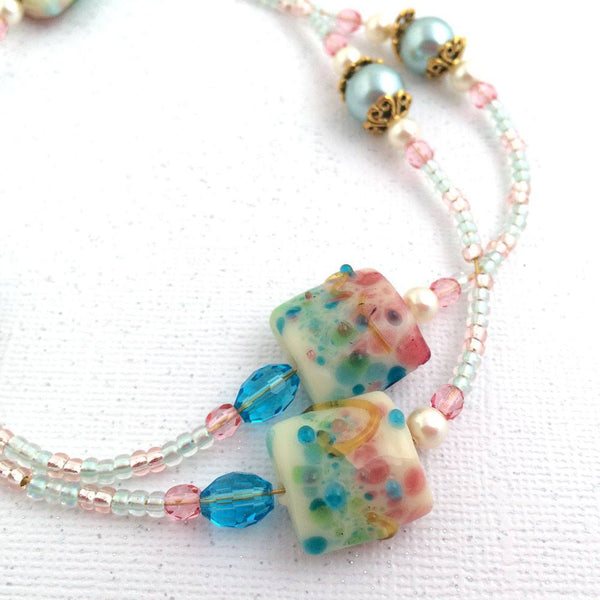 Beaded Lanyard, Lampwork Beads in Warm Pink, Green and Blue, Gold Flower Clasp - Plum Beadacious