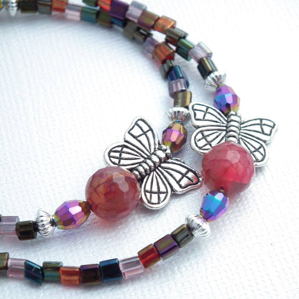 Butterfly and Agate Beaded Lanyard - Silver Butterflies, Pink and Purple Agates - Plum Beadacious  - 4