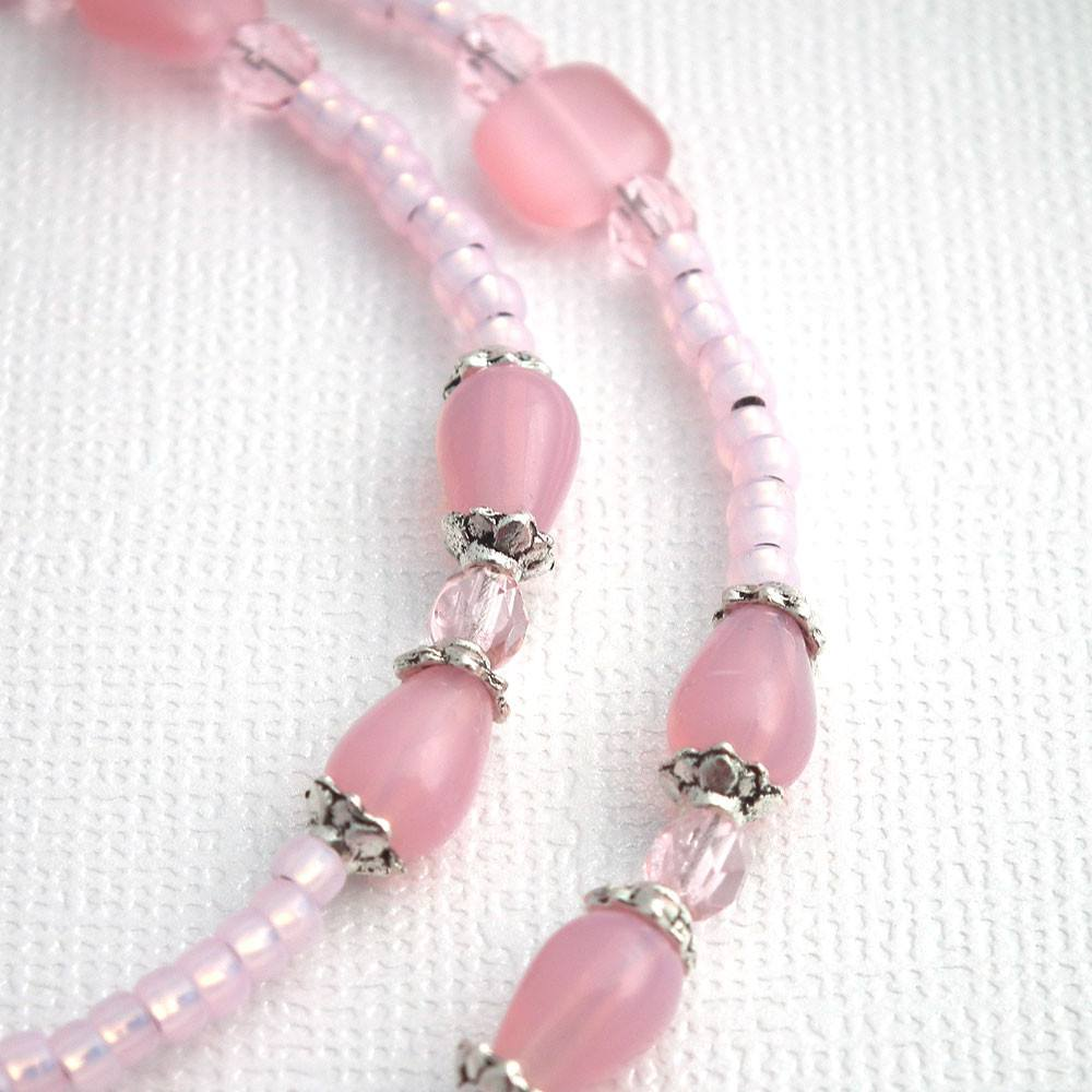 Pink Glass Beaded Eyeglass Chain, Silver Plated Beads, Eyeglass Necklace, Reading Glasses Chain,Eyeglass Lanyard - Plum Beadacious