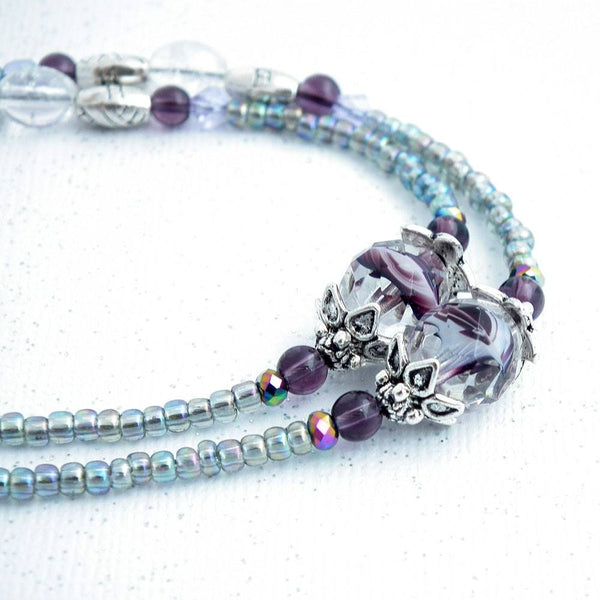 Beaded Lanyard - Clear and Purple Glass Beads, Silver Bead Caps - Plum Beadacious