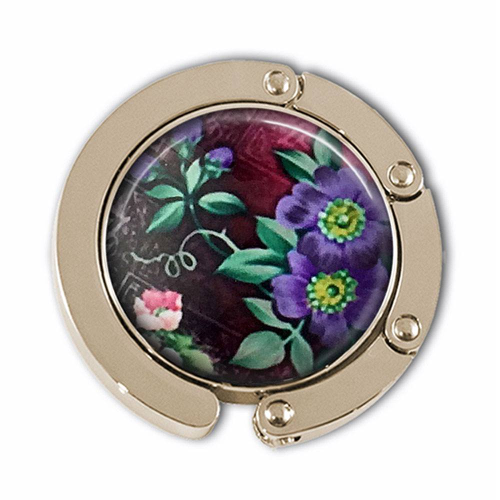 Purple Blossoms Photo Glass Cabochon, Purse Hanger - Plum Beadacious  - 1
