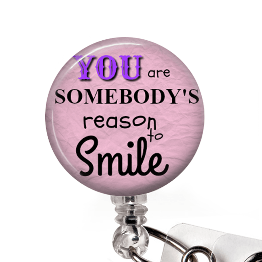 Reason to Smile ID Badge Holder- Pink, Inspirational Badge Reel -349