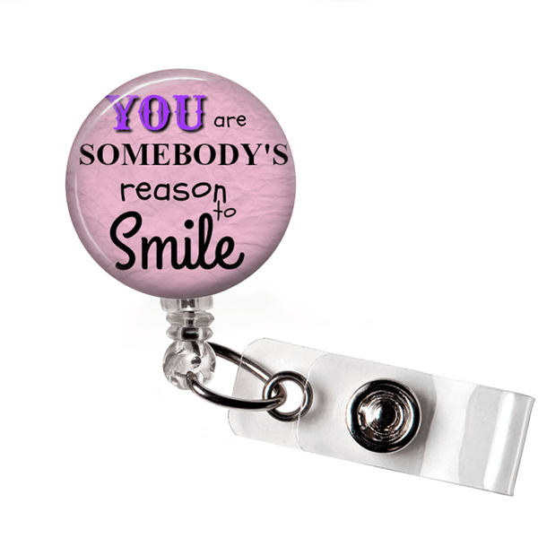 Reason to Smile ID Badge Holder- Pink, Inspirational Badge Reel -349 - 2