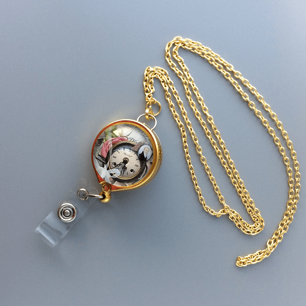 Gold Chain Badge Reel Lanyard - Pocket Watch Image under Glass Dome - Plum Beadacious