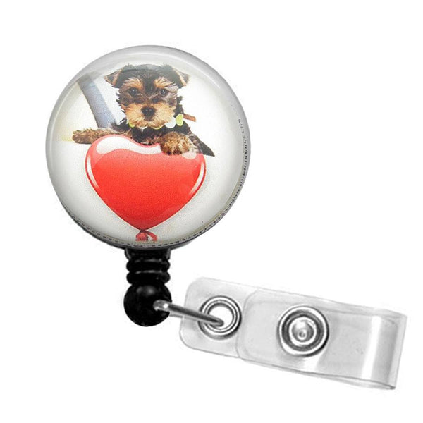 Puppy Dog with Heart Photo Glass on Black Badge Reel - Hearts Badge Reel 262 - Plum Beadacious  - 5