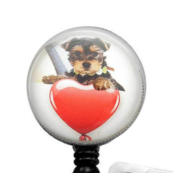 Puppy Dog with Heart Photo Glass on Black Badge Reel - Hearts Badge Reel 262 - Plum Beadacious  - 1
