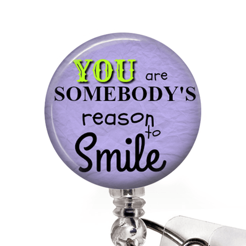Reason to Smile ID Badge Holder- Purple, Inspirational Badge Reel -351 - Plum Beadacious