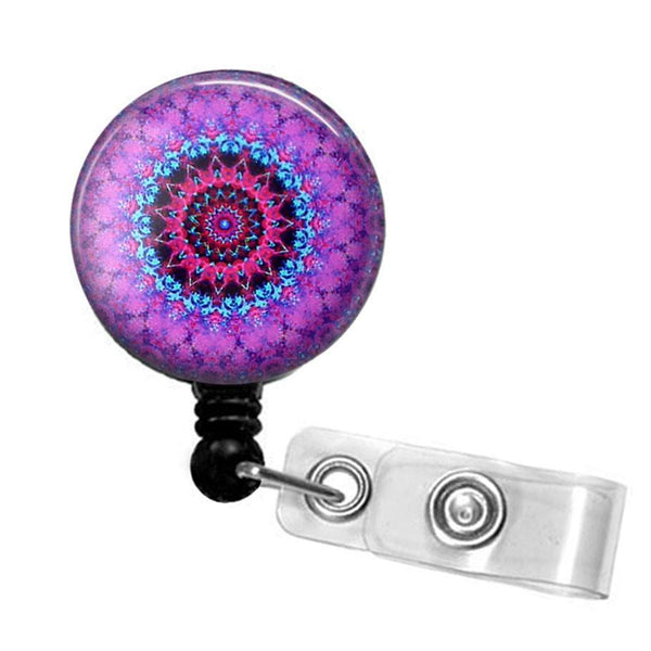 Purple Mandala Glass Dome Retractable ID Badge Reel, Name Badge Holder 279 - Plum Beadacious