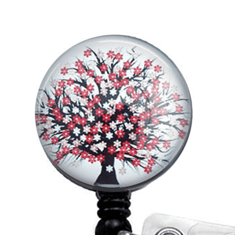 Red and Black Tree Retractable ID Badge Reel - Name Badge Holder 204 - Plum Beadacious