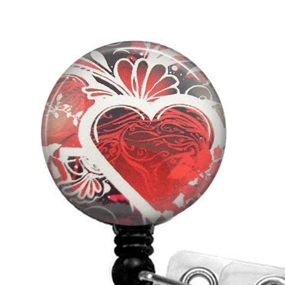 Red Heart with Black Photo Glass on Black Badge Reel - Hearts Badge Reel 302
