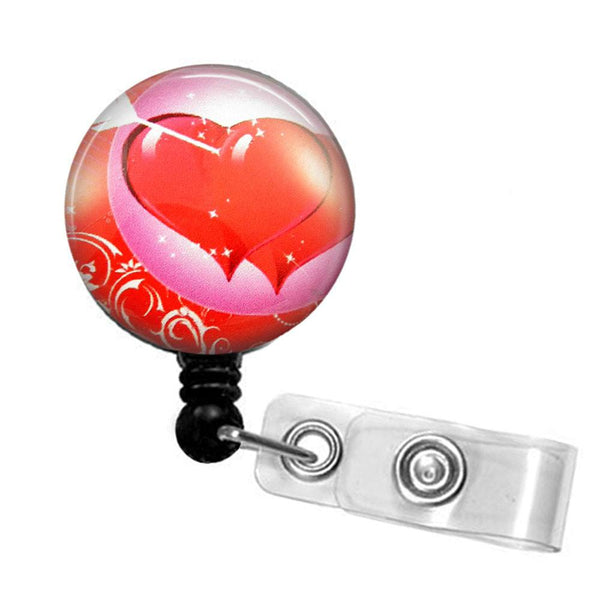 Red on Red Hearts Photo Glass on Clear Badge Reel -  Hearts Badge Reel 265 - Plum Beadacious  - 5