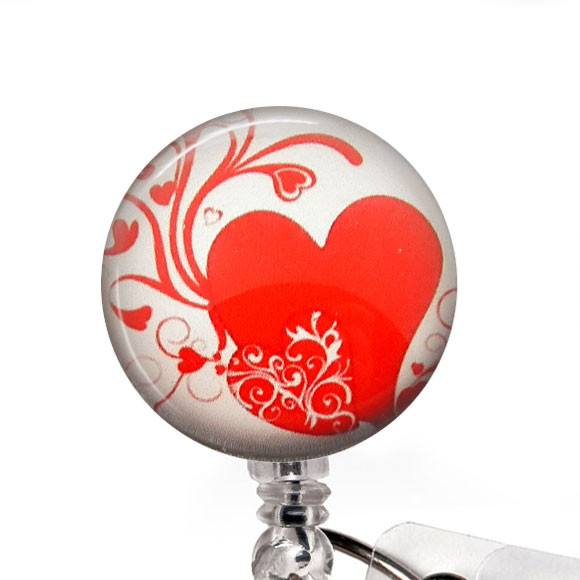 Red Heart on White Photo Glass on White Badge Reel - Hearts Badge Reel - 301 - Plum Beadacious  - 1