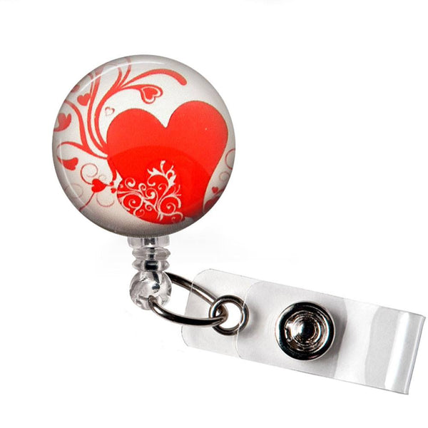 Red Heart on White Photo Glass on White Badge Reel - Hearts Badge Reel - 301 - Plum Beadacious  - 5
