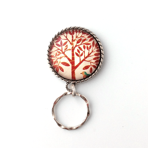 Magnetic Eyeglass Holder - Red Tree on White Background Photoglass Cabochon - EH63 - Plum Beadacious  - 1