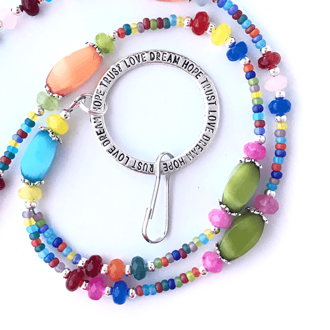 Rainbow Cats Eye Beaded ID Badge Lanyard - Oval Cat Eye Beads - ID Necklace -1