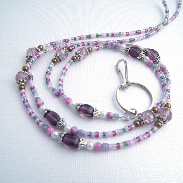 Purple Glass Beaded Lanyard with Mix of Pinks, Grayed Purple, Tan and White Beads - Plum Beadacious