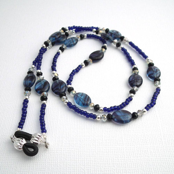 Blueberry Quartz Beaded Eyeglass Chain - Oval Blueberry Quartz Beads, Silver Plated Beads, Crystal Rondelles, Reading Glasses Holder - Plum Beadacious