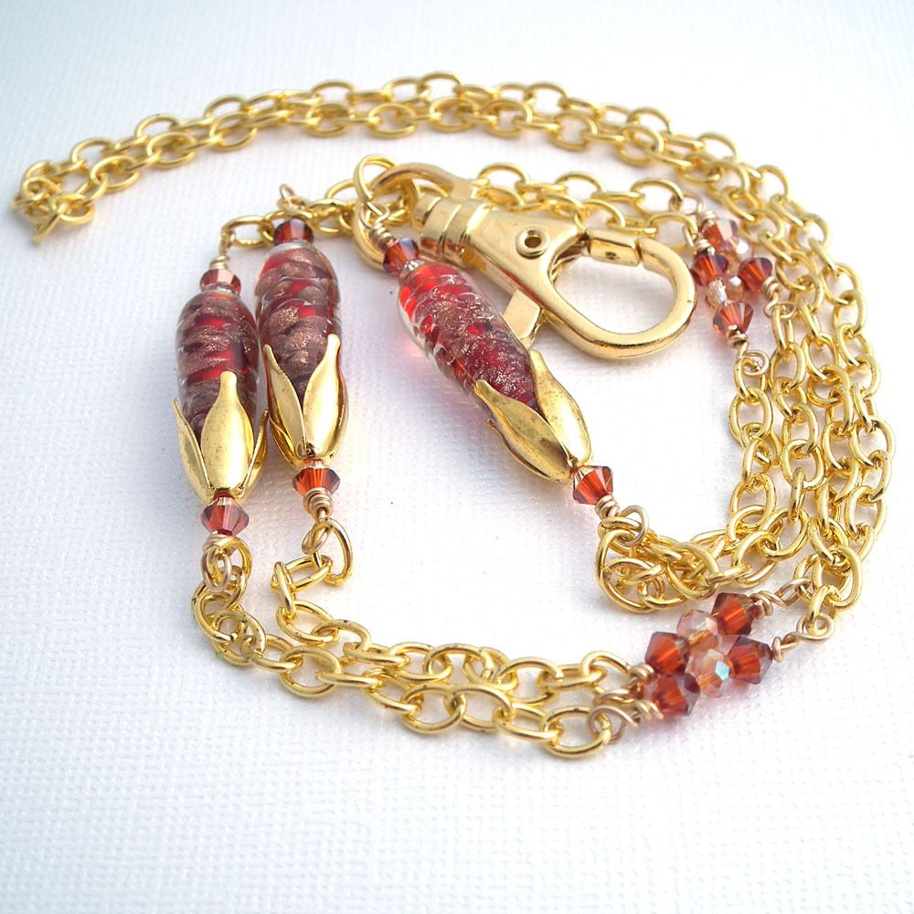 Gold Plated Chain ID Badge Lanyard with Glass Orange Cone Beads and Crystals - Limited Edition - Plum Beadacious